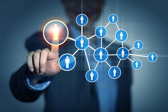 Image of female touching virtual icon of social network-1